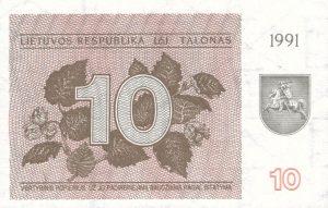 10 Talonu banknotas 1991m, aversas https://www.manokolekcija.lt