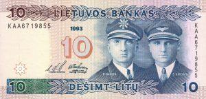 10 Litu banknotas 1993m, aversas https://www.manokolekcija.lt