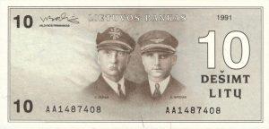 10 Litu banknotas 1991m, aversas https://www.manokolekcija.lt