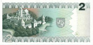 2 Litu banknotas 1993m, reversas https://www.manokolekcija.lt