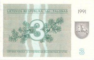 3 Talonu banknotas 1991m, aversas https://www.manokolekcija.lt