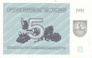 5 Talonu banknotas 1991m, aversas https://www.manokolekcija.lt