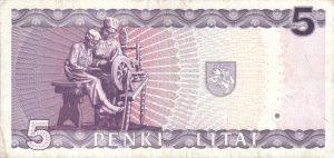 5 Litu banknotas 1993m, reversas https://www.manokolekcija.lt