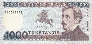 1000 Litu banknotas 1991m, aversas https://www.manokolekcija.lt