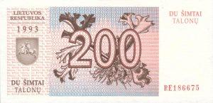 200 Talonu banknotas 1993m, aversas https://www.manokolekcija.lt