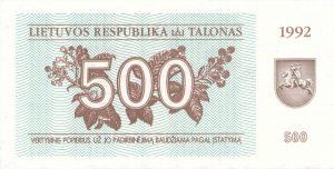 500 Talonu banknotas 1992m, aversas https://www.manokolekcija.lt