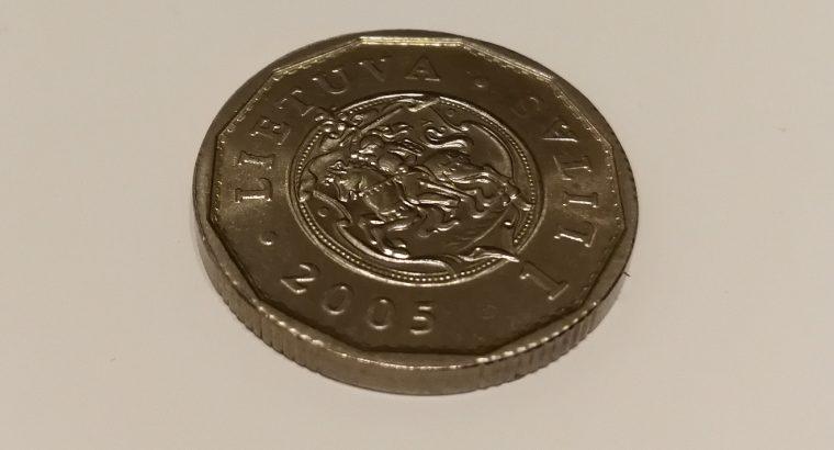 Kolekcinė 1 Lito moneta su Valdovų rūmais