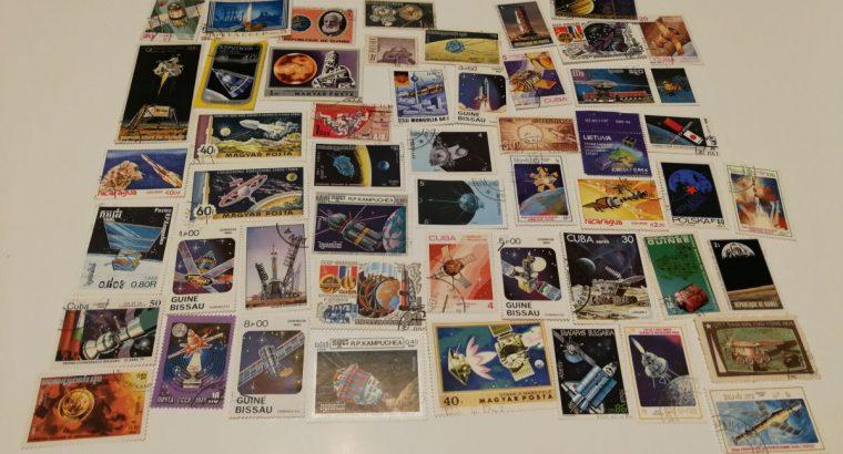 50 pašto ženklų kolekcija kosmoso tematika