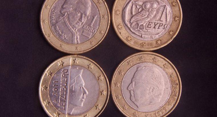 Septynios 1Eur monetos