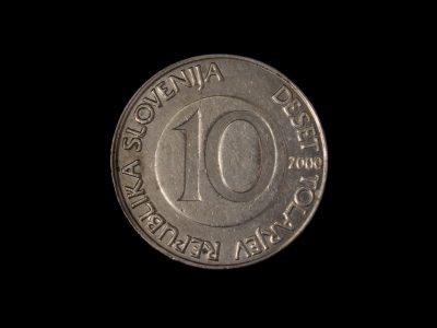 10 Slovėnijos tolarų moneta 2000 metai