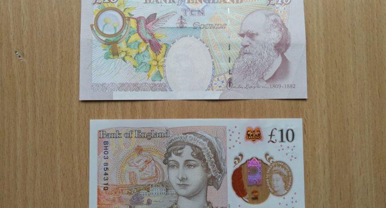 Du 10 svarų banknotai – seno ir naujo leidimo