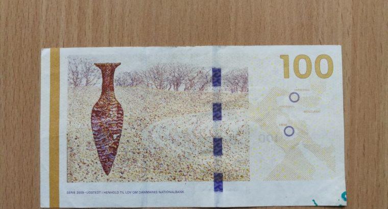 100 Danijos kronų banknotas