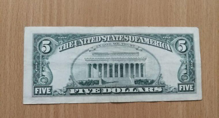 5 JAV dolerių banknotas
