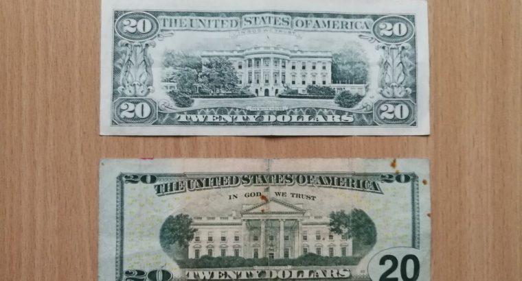 Du dvidešimties JAV doelrių baknotai