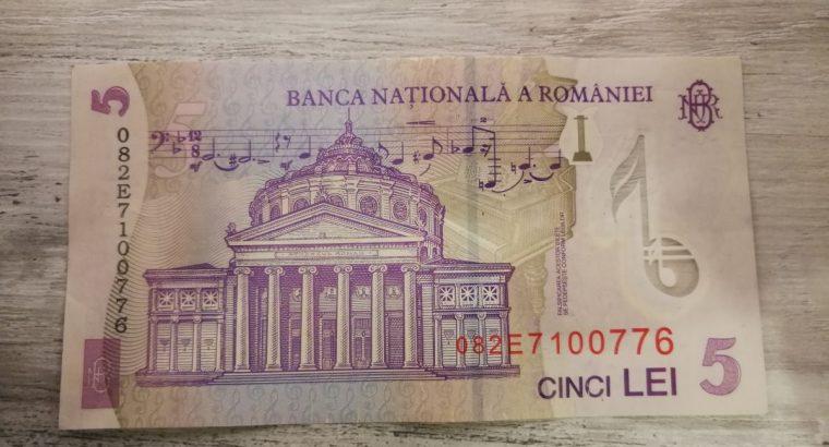 Penkios Rumunijos lėjos banknotas