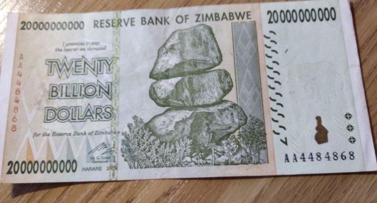 Zimbabvės 20 milijardų dolerių kupiūra, 2008 m., P-86, UNC, 50 & 100 Trillion Series