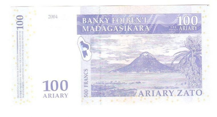 100 Madagaskaro ariarių banknotas