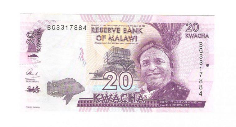 20 Malavio kvačių banknotas