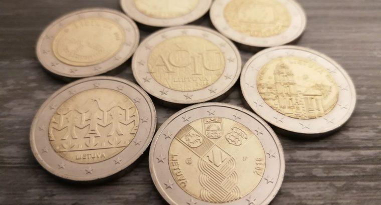 7 Lietuviškų dviejų eurų monetų rinkinys