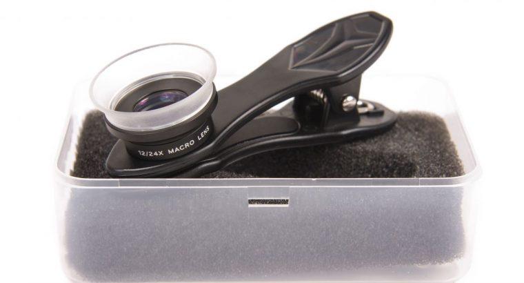 Universalus dvigubas makro lęšis mobilaus telefono kamerai 24XMH