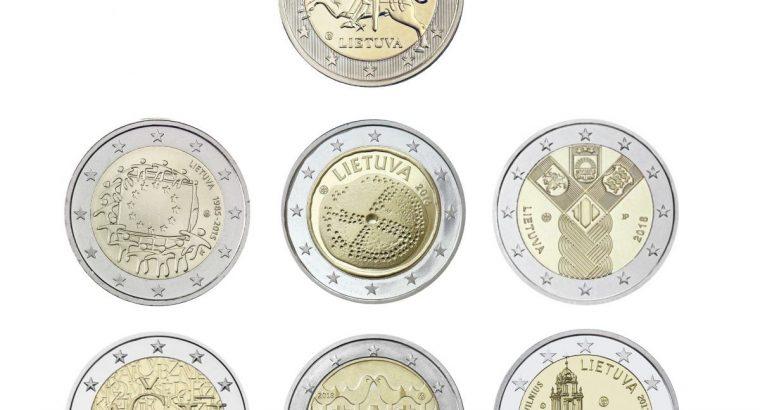 Visų 7 Lietuviškų dviejų eurų monetų rinkinys
