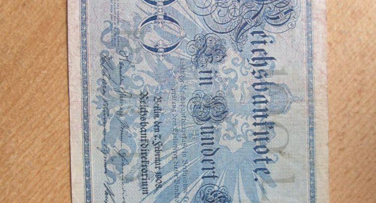 100 mark , Vokietija , 1908 žalias štampas