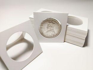 50 kartoniniai laikikliai monetoms su 35mm diametro langu