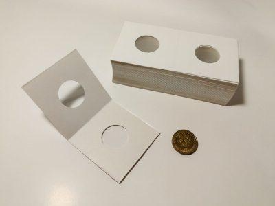 50 kartoniniai laikikliai monetoms su 20.5mm diametro langu