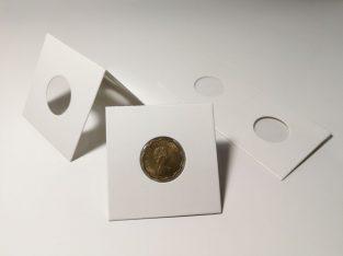 25 kartoniniai laikikliai monetoms su 20.5mm diametro langu