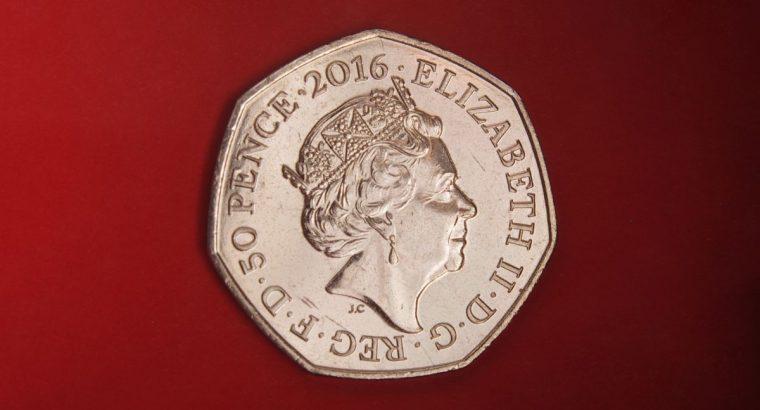 50 pencų moneta 2016 su Peter Rabit