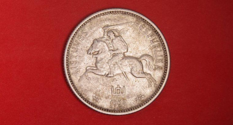 Sidabrine dvieju litu tarpukario moneta 2Lt