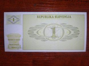 Slovėnija 1 Tolar banknotas 1990 metai UNC bankinis stovis