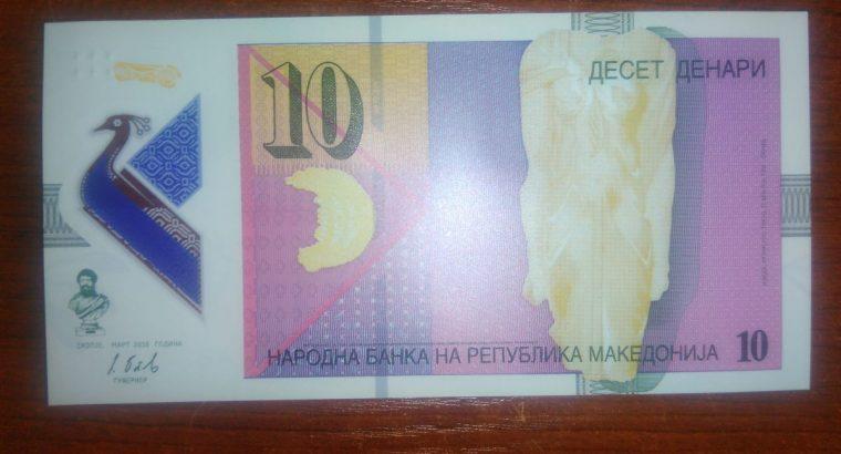 Makedonija 10 Dinari banknotas polimerinis 2018 metai UNC bankinis stovis