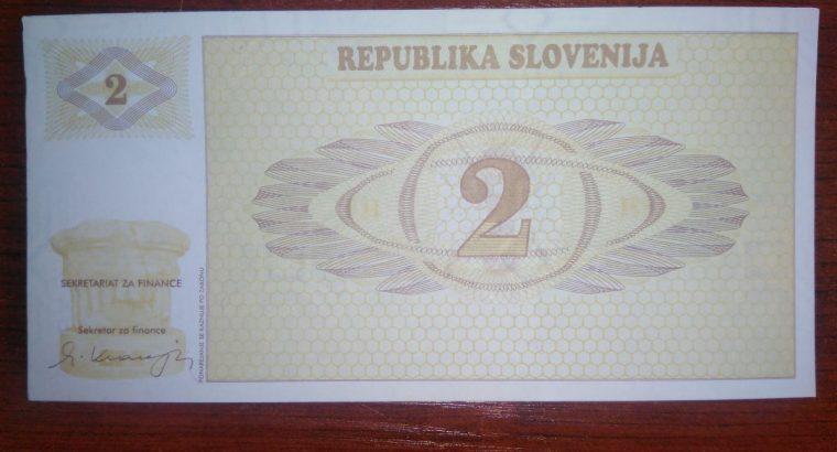 Slovėnijos banknotas UNC Bankionio stovio 1990 metai