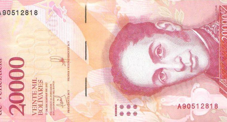 20000 Venesuelos bolivarų banknotas, UNC