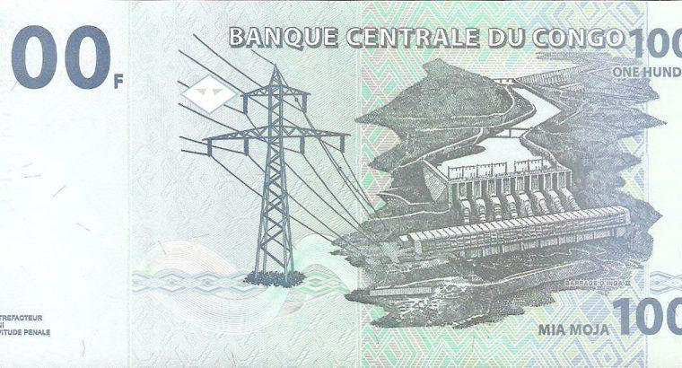 100 Kongo frankų banknotas UNC