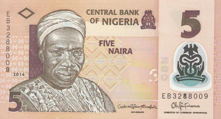 5 Nigerijos nairų banknotas, UNC