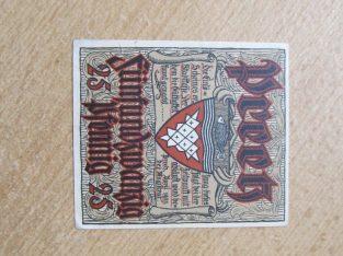 Notgeldas 25 pfennig , Vokietija , 1921