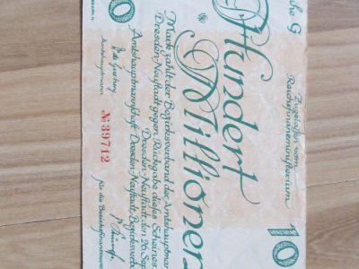 100 milijonu markiu , Dresden Vokietija , 1923 ret