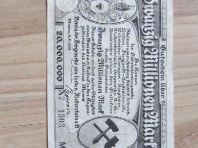 20 milijonu markiu , Moers Vokietija , 1923 retoka