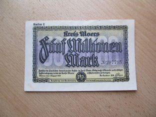 5 milijonai markiu , Vokietija Moers , 1923