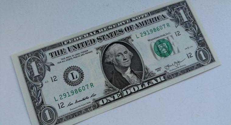 1 JAV dolerio banknotas 2013 metu su piramide ir akim