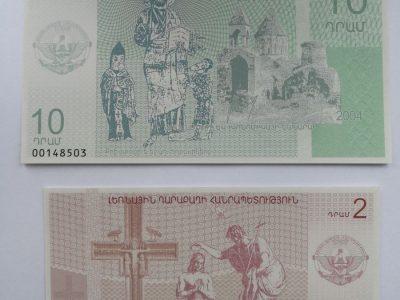 Abu 2 ir 10 dramų Kalnų Karabacho banknotai UNC