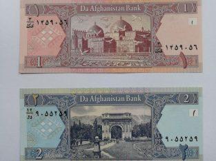 1 ir 2 Afganistano afganių banknotai, UNC