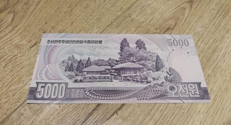 5000 siaures korejos vonu UNC banknotas
