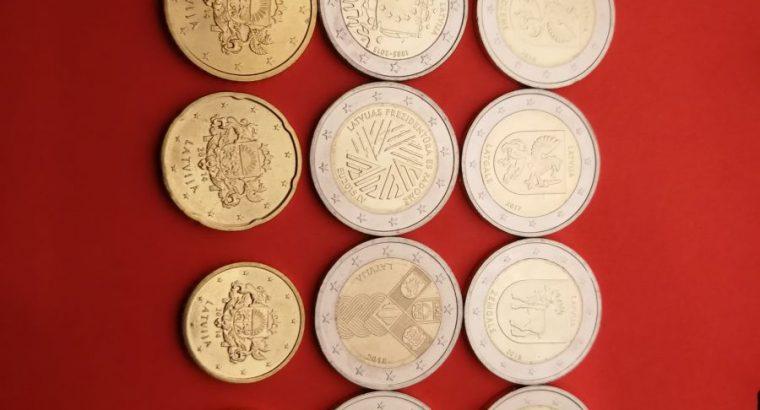 Visu Latvijos euro monetu kolekcija UNC