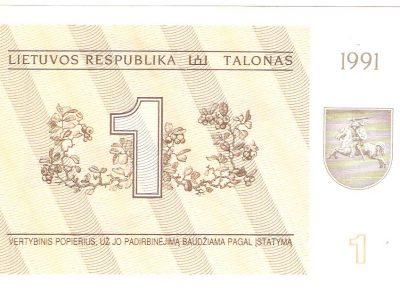 1 talonas Lietuva 1991 metu