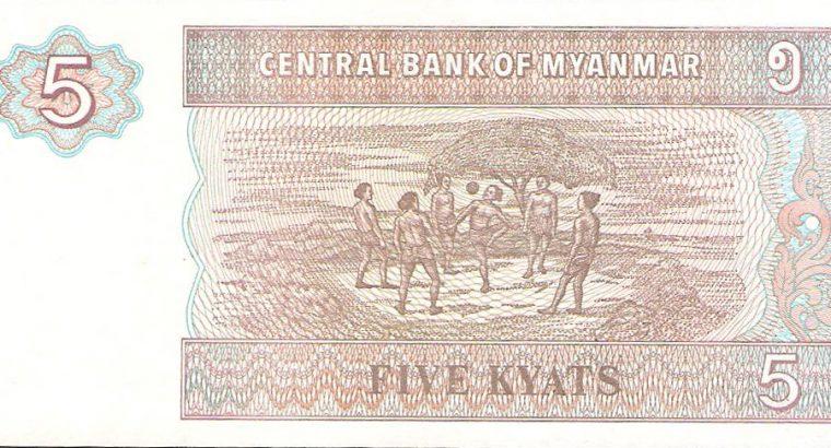 5 Myanmaro Kajatų banknotas