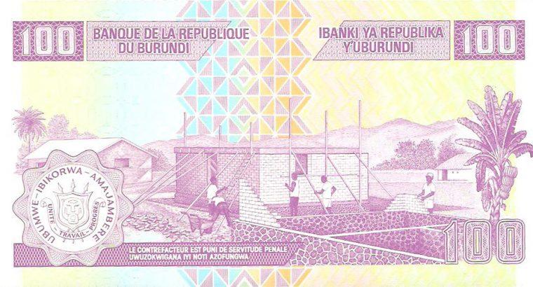 100 Burundžio frankų banknotas UNC