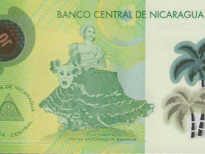 10 Nikaragvos kordobų banknotas. UNC, polimeras